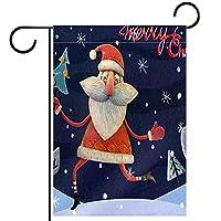 ガーデンフラッグ縦型両面 28x40inch 庭の屋外装飾,メリークリスマスツリーサンタクロース雪だるまスノーフレーク