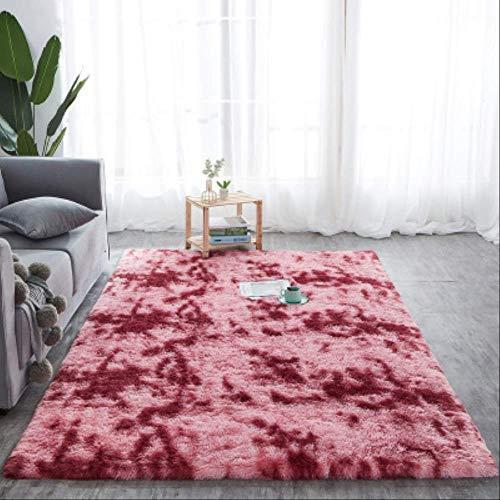 Shaggy Tie-dye Carpet Printed Plush Floor Fluffy Mats Kids Room Faux Fur Area Rug Living Room Mats Silky Rugs 140x200cm Dark red