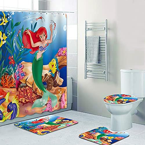 Fgolphd Duschvorhang DisneyMeerjungfrau Arielle 180x200180x180 Strand Bunt Badezimmerteppich 4-teiliges Set, Shower CurtainsWasserdicht (180 x 180 cm,2)