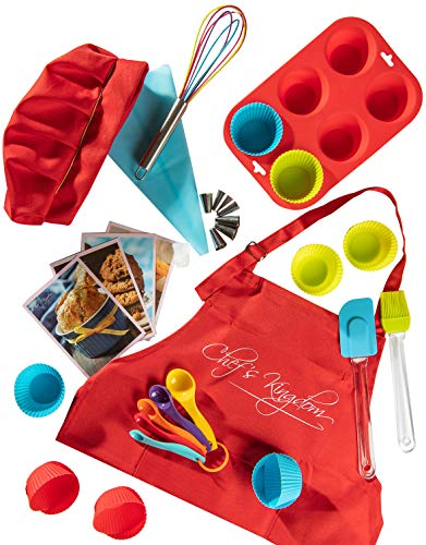 Riki's Kingdom Kids real baking cupcake set with recipes/Muffin Pans/decorating kit, Measuring Spoons,whisk,Spatula,Pastry Brush/Gift Giving Box (Baking cupcake set with kid Apron& chef Hat)