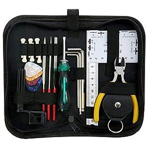 ammoon Gitarre Tools Reparieren Wartung Reinigungswerkzeug Kit beinhaltet String Organizer & String Aktion Lineal & Gauge Messwerkzeug & Inbusschlüssel Set & Dateien für Gitarre Ukulele Bass Mandoline