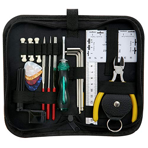 ammoon Kit Guitar Tools Cleaning Repair Maintenance Includes String Organizer and String Action Ruler & Caliber Measurement Tool & Hex Key Set and Files