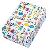 Geschenkpapier Geburtstag, 3 Rollen, Motiv Happy Birthday, buntes Schrift-Geschenkpapier mit Glitzer und Ballons. Der multifarbige Glitter sorgt für den zusätzlichen Wow-Effekt. Toll auch für Kinder.