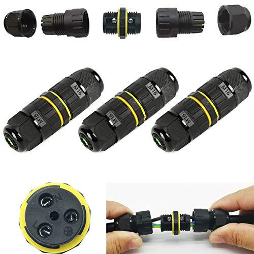CTRICALVER 3 pz Scatola di giunzione IP68 resistente alle intemperie Outdoor/Gland elettrici esterni manica accoppiatore cavo Ø 7-10mm/3 core Connettore per cavo esterno