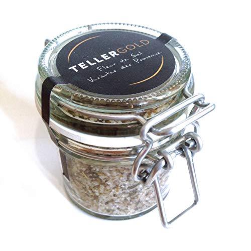 Tellergold - Fleur de Sel Kräuter der Provence - kostbares Flor de Sal aus Portugal - 70g - Salzmischung von Hand veredelt | Glas.