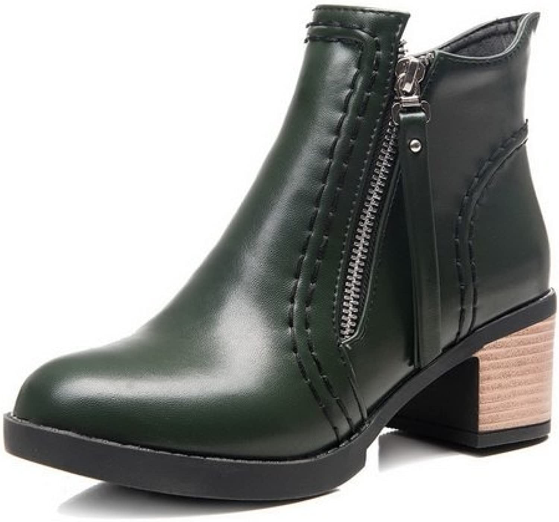 AdeeSu Womens Zipper Chunky Heels Bootie Urethane Boots SXC02409