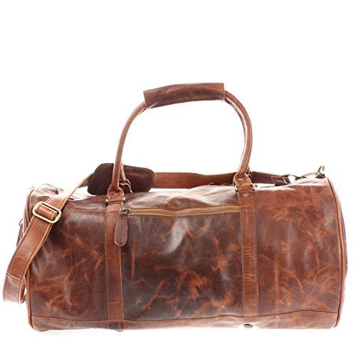 LECONI Reisetasche für Damen & Herren Ledertasche Weekender groß Sporttasche Männer + Frauen Handgepäck Sporttasche echtes Rinds-Leder Natur Retro 53x28x28cm braun LE2004-wax