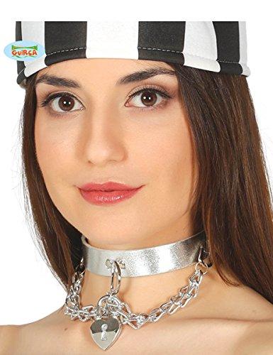Guirca Halsband mit Ketten Anhänger Silber Collier Punk Halloween Karneval