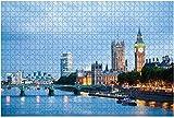 1000 Piezas-30 07 2015 Londres Reino Unido Londres al amanecer Vista desde el puente Golden Jubilee Rompecabezas de madera Rompecabezas educativos para niños de bricolaje Regalo de descompresión para