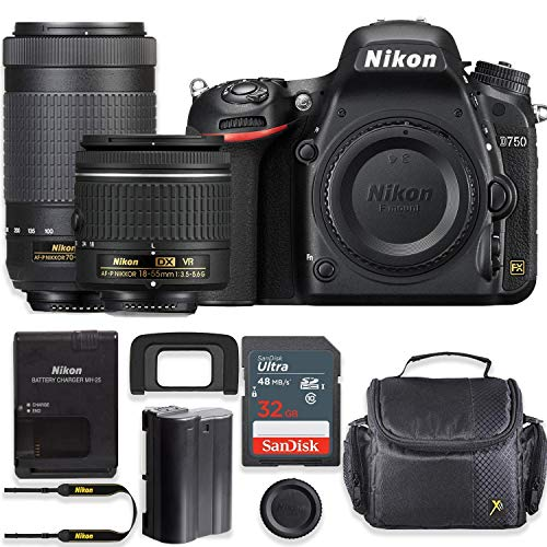 Nikon D750 24.3MP DSLR Camera with AF-P 18-55mm VR Lens & 70-300mm ED Lens Kit + 32 GB Sandisk Memory Card & Deluxe Gadget Case
