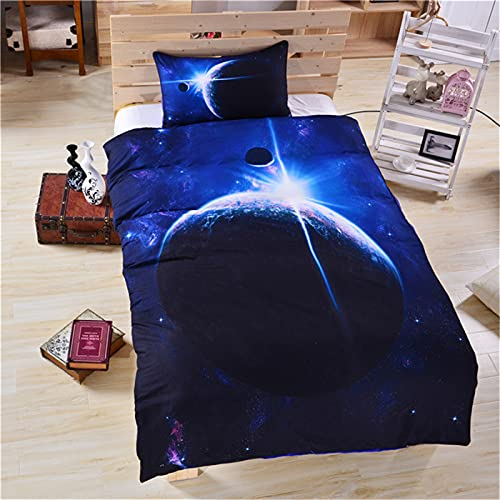 Impresión 3D Cielo Estrellado 3 Piezas Lavable Textiles para El Hogar Apartamento Hotel Ropa De Cama Funda Nórdica Funda Nórdica Funda De Almohada 140x210cm(WxH) B