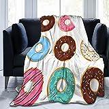 Benle Manta Super Suave,Set Donuts Coloridos Dibujos Animados Aislado sobre Fondo Blanco,Manta de Felpa Suaves y esponjosa para sofá Cama y Sala de Estar Adecuada para Todas Las Estaciones 200x150cm
