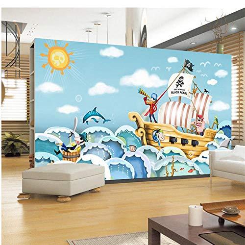 Yzybz Pirat Piratenschiff Sea Rover Große Fototapete Wandbild Kinderzimmer Karton Wandbilder 3D-Tapeten An Der Stereoskopischen Wand-140 * 100cm