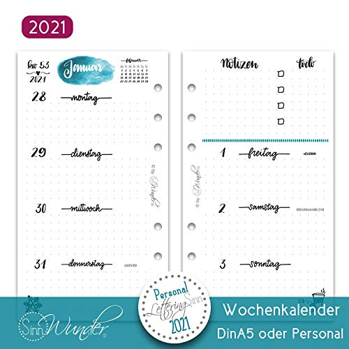 SinnWunder® Premium-Kalendereinlagen - Wochenplan mit 1 Woche auf 2 Seiten - LetteringSinn (2021 - Personal)