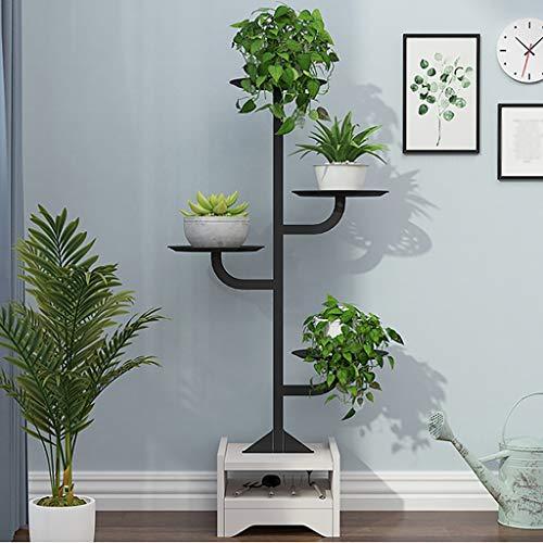 ZYFHJa Étagères d'angle Présentoir de Support Simple créatif de Support de Pot de Fleur d'intérieur Multi-Fonctionnel Multi-Fonctionnel au Sol (Couleur : Noir)