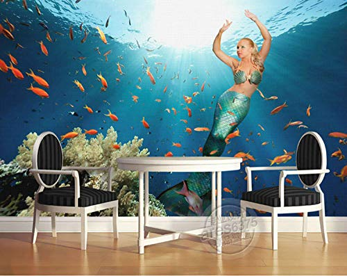XCHBH Tapete Selbstklebende Tapete Wandbild (B) 300X (H) 256Cm Schöne Meerjungfrau Tapete Sea Wall Painting 3D Fototapete Nette Fische Wandbild Künstler Dekoration Kinder Home Deco