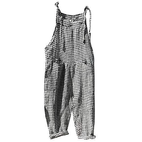 Combinaison Femme, Salopettes Larges Jumpsuit Sport Pantalons RayéS Salopettes De Travail pour Femmes Combishort Grande Taille (Noir-1, XXXL)