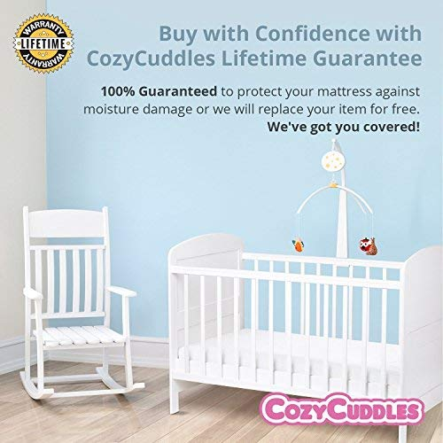 "COZYCUDDLES Premium Zippered Quilted Waterproof Crib Protector Cover - All 6-Sides Waterproof Bedbugs Proof Fully Encasement - Standard Baby Crib Toddler Bedding (52"" x 28"") (1 Pack)"