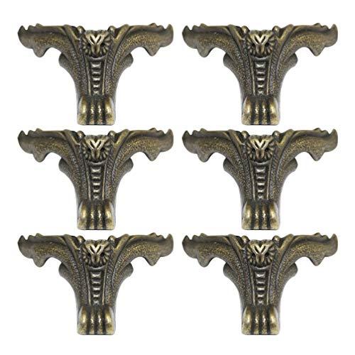 CLISPEED 6Pcs Caixa de Latão Antigo Pernas Pés de Madeira Caso Protetor de Canto Móveis Decorativos Pernas Suporta Hardware para Caixa de Joias Caixa de Presente Sofá Mesa (Verde Escuro)