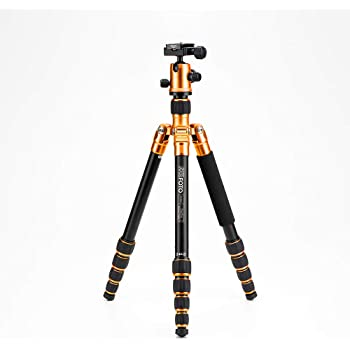 "MeFOTO RoadTrip Classic Lightweight 61.6"" Aluminum Travel Tripod/Monopod w/Case, Twist Locks, Triple Action Ballhead w/Arca Swiss Plate for Mirrorless/DSLR Sony Nikon Canon Fuji - Orange (A1350Q1C)"