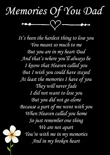 Memories of You Dad Memorial Graveside Poem Keepsake Card Includes Free Ground Stake F76