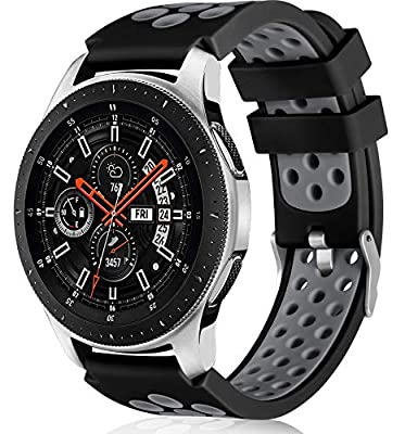 Lerobo Compatible for Samsung Galaxy Watch 3 Bands 45mm/Galaxy Watch 46mm Bands/Gear S3 Frontier, Classic Watch Bands, 22mm Soft Silicone Breathable Watch Strap Wristband for Women Men(Black/Gray)