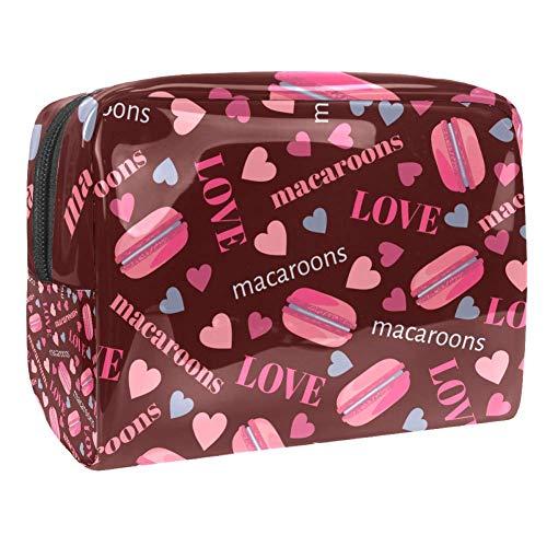 Tizorax Sac de maquillage en PVC avec cœurs Rose macarons