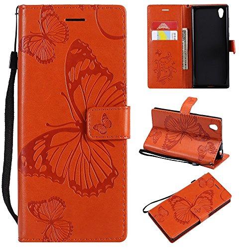 Funda de piel sintética con función atril y correa de muñeca compatible con Sony Xperia L1 y Xperia E6 (color naranja)