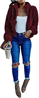 neveraway Womens Blouse Sherpa Lined Zip Up Nightclub Style Pea Coat Jacket