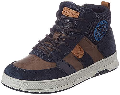 Geox J ASTUTO Boy D Sneaker, (Coffee/Navy), 32 EU