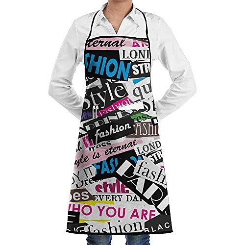 GWrix Mannen Vrouwen Professionele Chef Bib Aprons Keuken Schort Waterdicht Schort met Gereedschap Zakken voor Koken, Grill, Bakken, BBQ, Vakantie, (Fashion Magazine Icon Quotes)