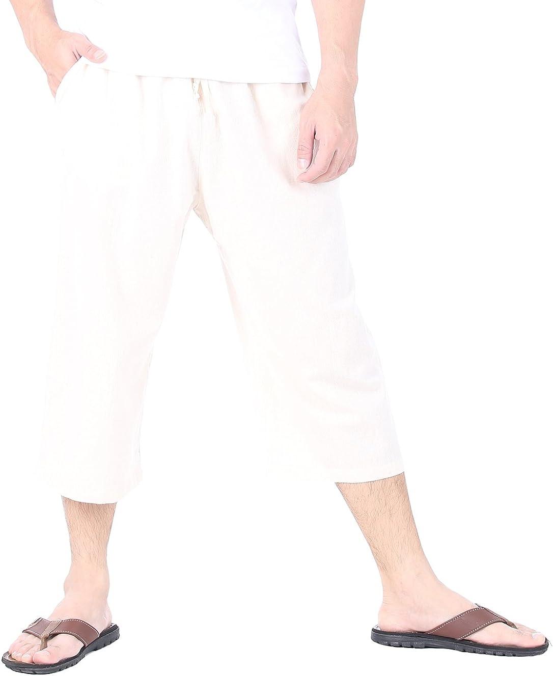 CandyHusky Mens Cotton Pilates Yoga Capris Beach Lounge Sleep Pajama Capri Pants