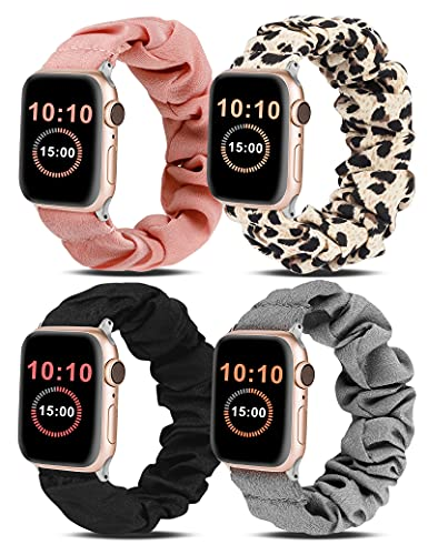 Wearlizer 4 Packs Compatible for Apple Watch Band Scrunchie Soft Cloth 38mm 42mm Cute Printed Elastic Watch Bands Women Stretchy Bracelet Wristband Strap for Apple iWatch SE/6/5/4/3/2/1