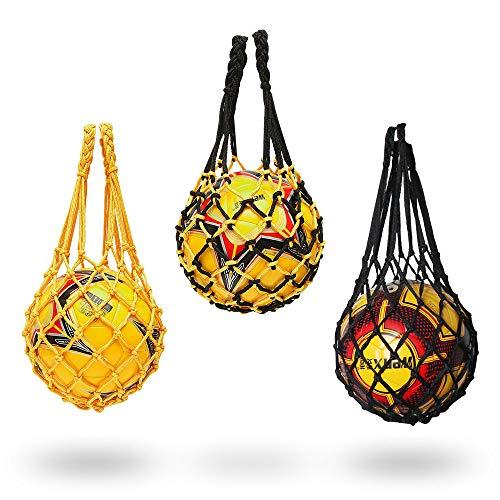 UTRUGAN 3 PCS Red para Balones de Poliéster Bolsa de Red Malla Portátil Bolsa de Baloncesto Bolsa de Almacenamiento con Cordón para Voleibol Rugby Fútbol Balones Deportivos (Negro y Amarillo)