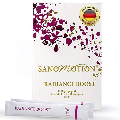 RADIANCE BOOST hochdosiert 5000mg Monatspack Kollagen Peptid Beauty Drink, Vitamin B C E plus Zink, Hyaluronsäure und Elastin, Haut-Straffung, Anti-Falten, starke Nägel, Haare und Immune