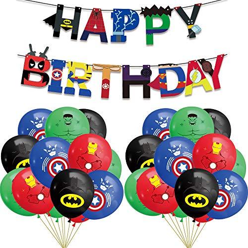 INTVN Superhero Geburtstagsdekorationen-Superhelden Geburtstag Girlande Banner, Latex Luftballons, Superhelden Thema Party Dekorationen Party Gefälligkeiten für Kinder Geburtstag