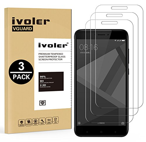 ivoler [3 Unidades] Protector de Pantalla para Xiaomi Redmi 4X / Redmi 4X Pro, Cristal Vidrio Templado Premium