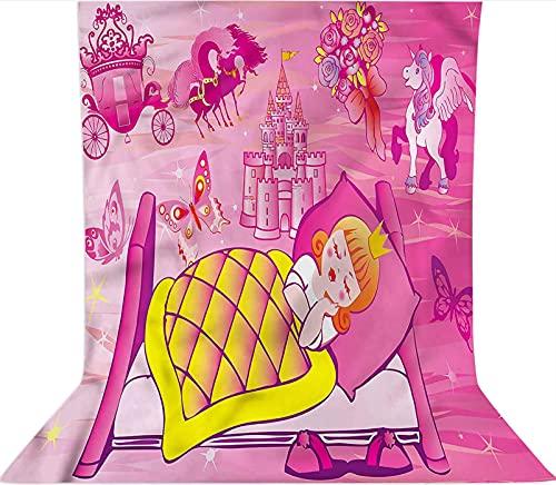 Fondo de fotografía de 7 x 10 pies, telón de fondo de tela de microfibra de unicornio de cuento de hadas para dormir, con bolsillo para barra (solo telón de fondo) para fotomatón de fondo