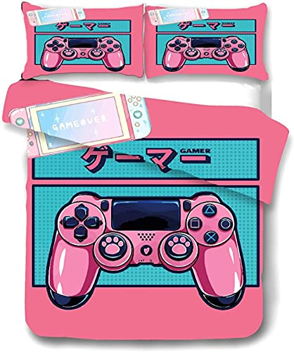 Gamepad Set Biancheria da Letto Gamepad Set Copripiumino per Ragazzi Videogioco Gamepad Letti Set Controller di Gioco Biancheria da Letto (04100 * 135 + 40 * 60 * 1)-01_220 x 240 + 80 * 80 * 2