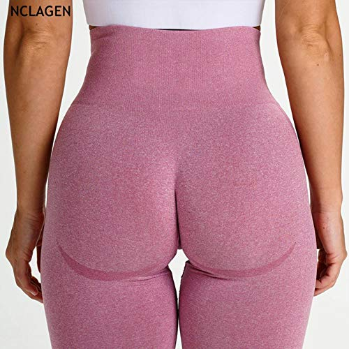 HPPL Naadloze Leggings Sport Dames Fitness Push-up Yogabroek Hoge Taille Squat Proof Workout Hardlopen Sportkleding Gym Panty, Roze, M