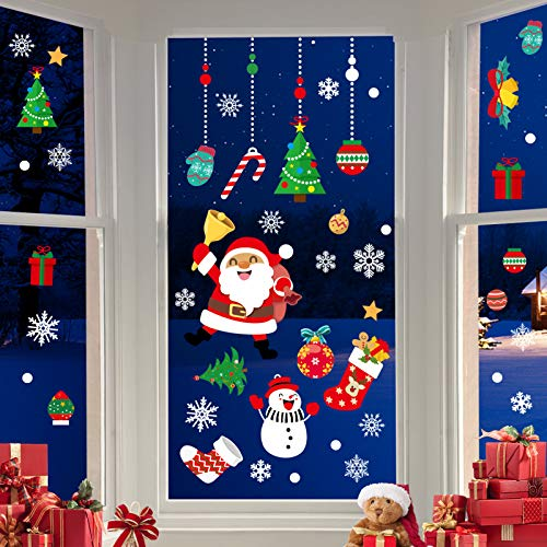 CENXINY Fensterbilder Weihnachten Selbstklebend und Wiederverwendbar, Fensterdeko Weihnachten Fensterfolie aus PVC inkl. 2 Weihnachtliche- & 2 Schneeflockenaufkleber, Elektrostatisches Prinzip