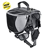 Lifeunion Adjustable Service Dog Supply Backpack Saddle Bag for Camping Hiking Training(Black,Small)