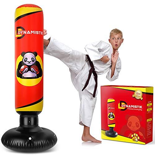 DYNAMISTIK™ Punching Ball Gonflable & Autoportant 160cm – Sac de Frappe sur Pied Solide et Résistant pour Enfants et Adultes – Boxe   Karaté   MMA   Fitness – PVC Renforcé