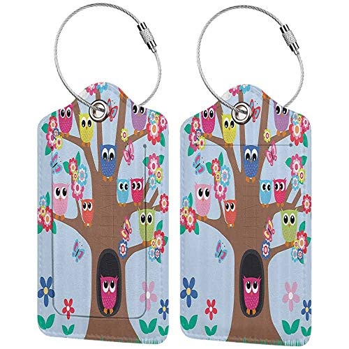 """Small luggage tag Owl Decor Cute Owls on Tree BFF Best Friends Forever Home Accent Design for Friendship Brown Green Blue Yellow Multicolor Quickly find the suitcase W2.7"""" x L4.6"""""""