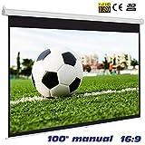 Pantalla Manual Mural de 100' 16:9 , Dimensiones de la Tela 2,20 x 1,14 Metros, cajetin de Acero 2,33 Metros, Pantalla para proyector Compatible con 4K, 16:9