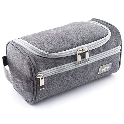 GO!elements Smart Toiletry Bag Men & Women | Toilet Bag for Hanging Men & Women | Cosmetic Bag Men Women for suitcases & Hand Luggage | Washing Bag Travel Bag, Color:Grey