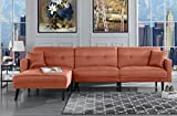 Orange Futon Recliner Sleeper Sofa Bed/Couch, Convertible Futon Sofa Sectional with Reversible Chaise,(Sofa to Bed Feature) Right Facing Modern L-Shaped Lounger Sectional Sofa & Fully Recline Chaise
