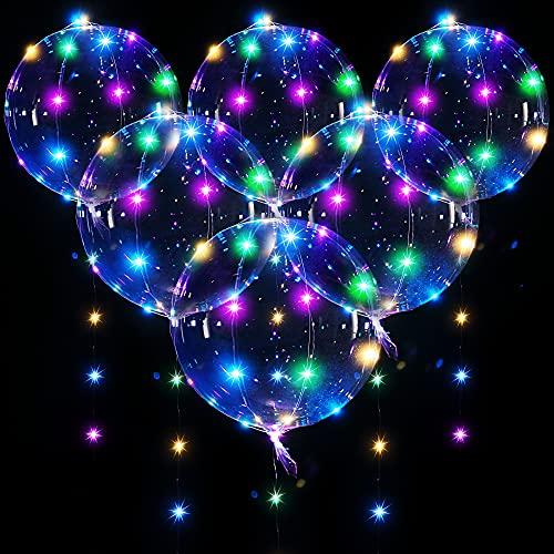 6 Globos BoBo LED Iluminado, Globos de Helio Transparentes con Burbujas con Cadena de Luces de 10 Feet para Decoración de Cumpleaños Fiestas Bodas Navidad (Alambre de Cobre Colorido)