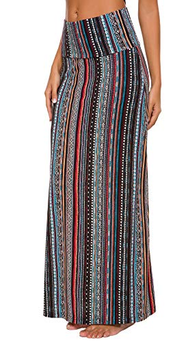Urban CoCo Women's Stylish Spandex Comfy Fold-Over Flare Long Maxi Skirt (XL, 6)
