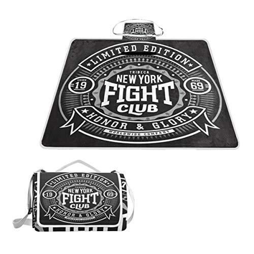 XINGAKA Couverture de Pique-Nique,Étiquette MMA Fight Boxing Sport Graphics Recreation Fitness Vintage Martial Badge Emblem Club Retro,Tapis Idéale pour Plage Jardin Parc Camping